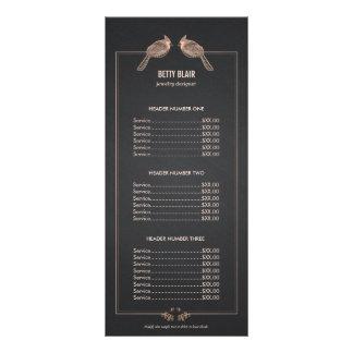 Elegant Rose Gold Birds Chalkboard Price List Menu Rack Cards