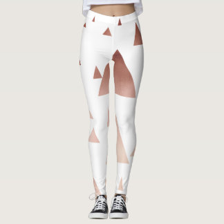 elegant rose gold foil geometric triangles leggings
