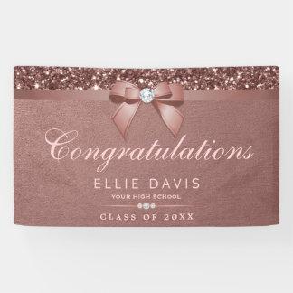 Elegant Rose Gold Graduation Diamonds Bow Glitter