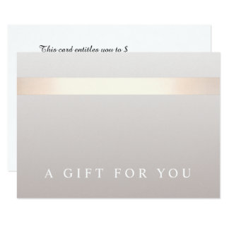 Elegant Rose Gold Striped Modern Gift Certificate Card