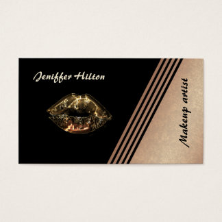 Elegant rose gold stripes metalic lips business card