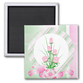 Elegant roses square magnet