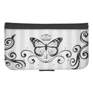 Elegant Royal Black Butterfly and thorns Samsung S4 Wallet Case