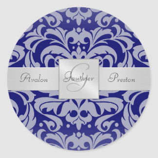 Elegant Royal Blue Damask Monogram Wedding Sticker
