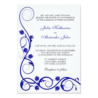 Elegant Royal Blue Swirls Invitation
