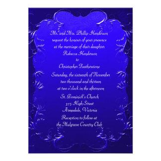 Elegant Royal Blue Wedding Invitation