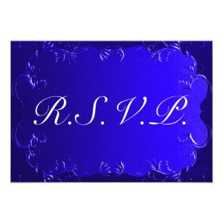 Elegant Royal Blue Wedding RSVP Invites