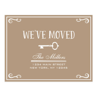 Elegant Rustic Beige Key Moving Announcement Postcard