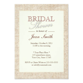 Elegant Rustic Burlap Bridal Shower Invitations