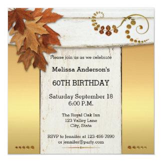 Elegant Rustic Fall Birthday Party Invitation