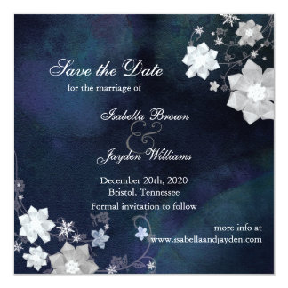 Elegant Rustic Floral Winter Wedding Save the Date Card