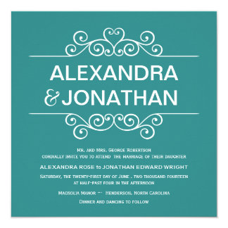 Elegant Rustic Teal Blue Wedding Invitations