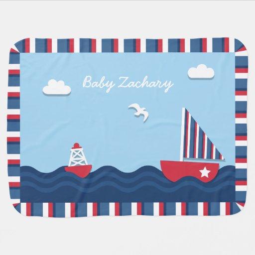 Elegant Sail boat Nautical Theme, For Babies Stroller Blanket