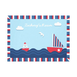 Elegant Sail boat Nautical Theme, For Kids Room Canvas Print