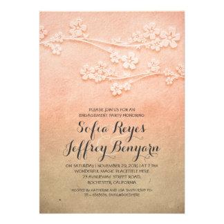 elegant sakura blossoms engagement party invites