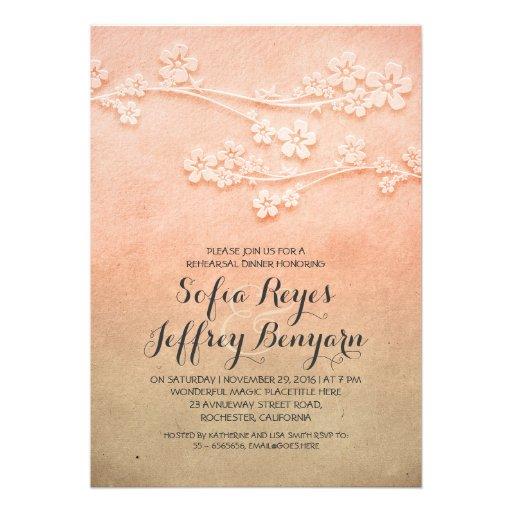 elegant sakura blossoms rehearsal dinner invites