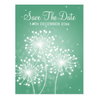 Elegant Save The Date Summer Sparkle Mint Green Postcard