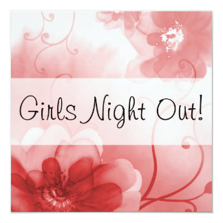 Elegant Scarlet and Gray Flowers Girls Night Out Card