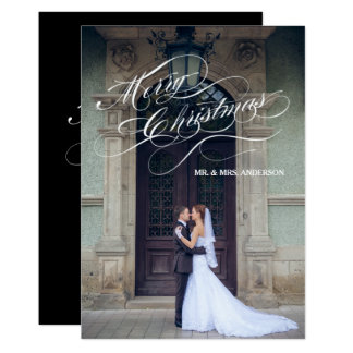 Elegant Script Newly Married | Holiday Photo Card 13 Cm X 18 Cm Invitation Card