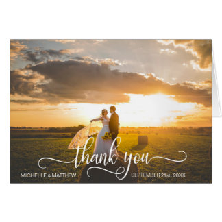 Elegant Script THANK YOU wedding note card | PHOTO