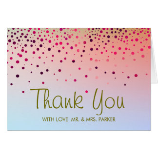 Elegant Sea Green Clouds Pink Thank You Greeting Card