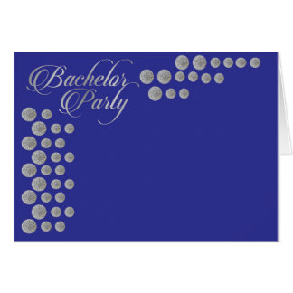 Elegant silver and blue Bachelor party invitation