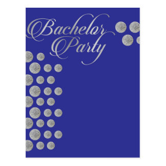 Elegant silver and blue Bachelor party invitation Postcard