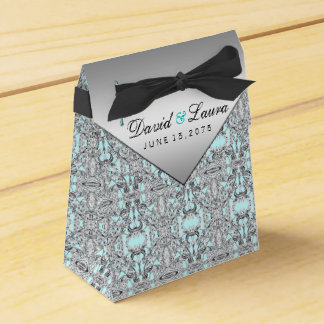 Elegant Silver and Teal Blue Wedding Favour Box
