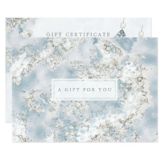 Elegant Silver Blue Marble Gift Certificate Card