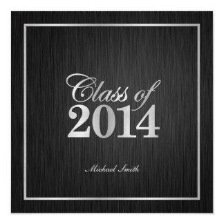 """Elegant """"Silver"""" Class of 2014 Graduation 5.25x5.25 Square Paper Invitation Card"""