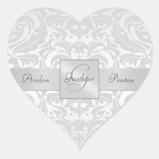 Elegant Silver Damask Heart Wedding Sticker