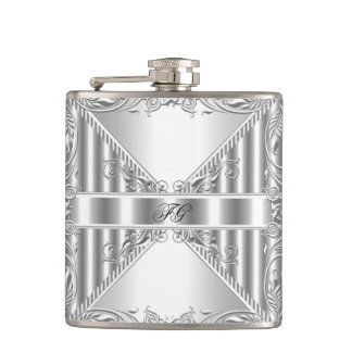 Elegant Silver Floral Metal look Monogram Name Hip Flask