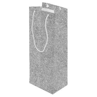 Elegant Silver Glitter Wine Gift Bag