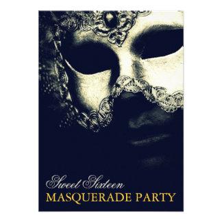 Elegant Silver Gold Sweet 16 Masquerade Invitation Personalized Announcement