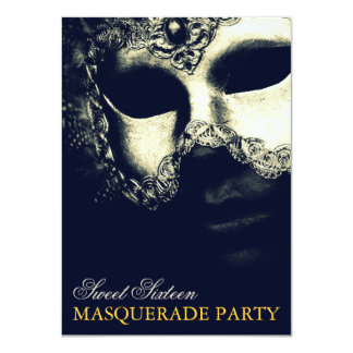 Elegant Silver Gold Sweet 16 Masquerade Invitation Personalized Announcement