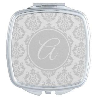 Elegant Silver Gray Damask Monogram Makeup Mirror