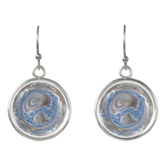 Elegant Silver Gray Shiny Blue Kaleidoscope Art Earrings