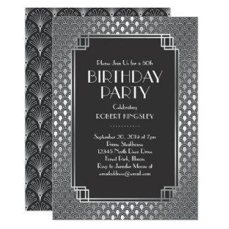 Elegant Silver Patterns Art Deco Birthday Party Card