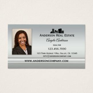 Elegant Silver Photo Professional Business Card