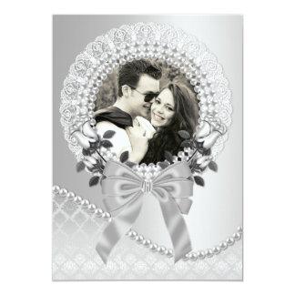 Elegant Silver Photo Wedding Invitation with Pearl