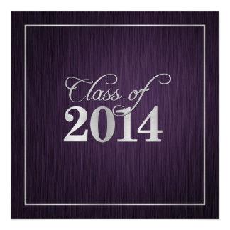 Elegant Silver & Purple Class of 2014 Graduation 5.25x5.25 Square Paper Invitation Card