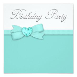 Elegant Silver Teal Blue Birthday Party Card