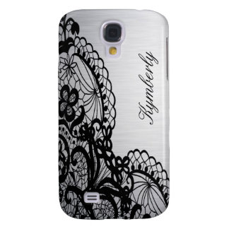 Elegant Silver with Black Lace Custom Name Galaxy S4 Case