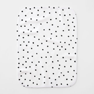 Elegant simple black white handdrawn polka dots baby burp cloth