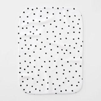Elegant simple black white handdrawn polka dots burp cloth