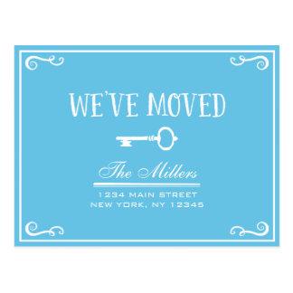 Elegant Sky Blue Key Moving Announcement Postcard