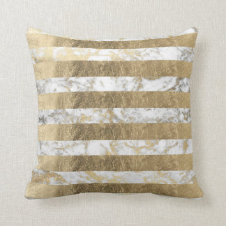 Elegant sophisticated faux gold marble stripes cushion