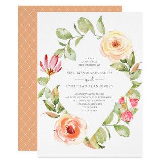 Elegant Spring Floral Diamond Peach Wedding Card