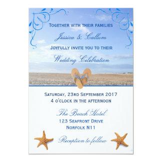 Elegant Starfish & Flip Flops Beach Wedding Card