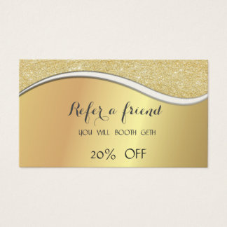 Elegant Stylish,Faux Gold,Glittery  Referral Card